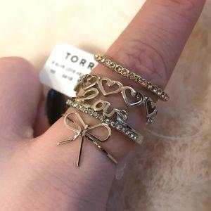 Torrid Love Heart Bow Ring Set - Set of 4